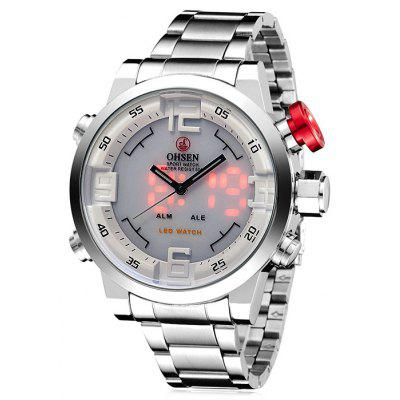 Buy SILVER OHSEN AD1608 Trendy Steel Band Men Quartz Watch for $23.38 in GearBest store