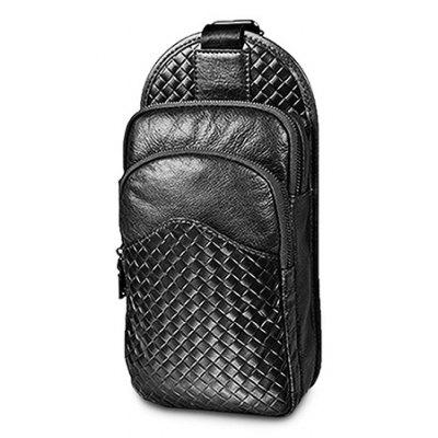 Buy BLACK Men Durable Woven Genuine Leather Shoulder Bag for $45.20 in GearBest store