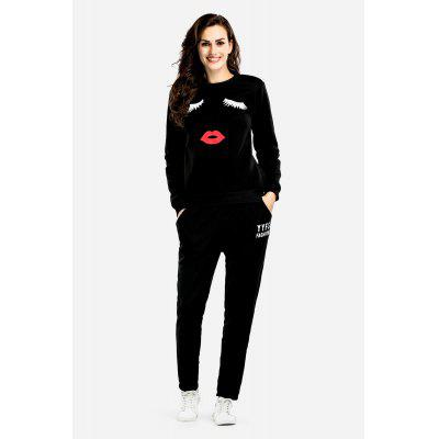 Comfortable Round Collar Facial Print Sports Suits for Women