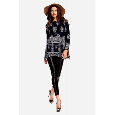 Individual Loose Print Round Collar Sweater for Women