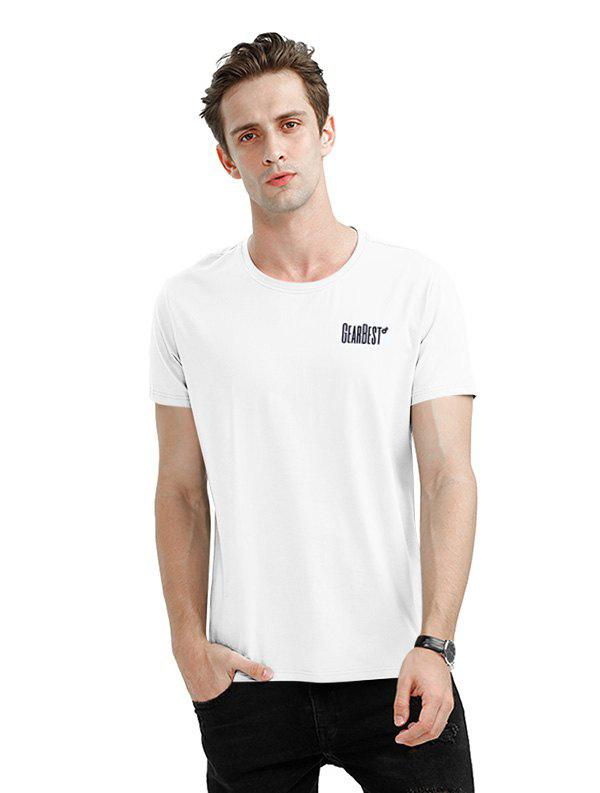 Buy Gearbest Men Crew Neck Turquoise T Shirt WHITE