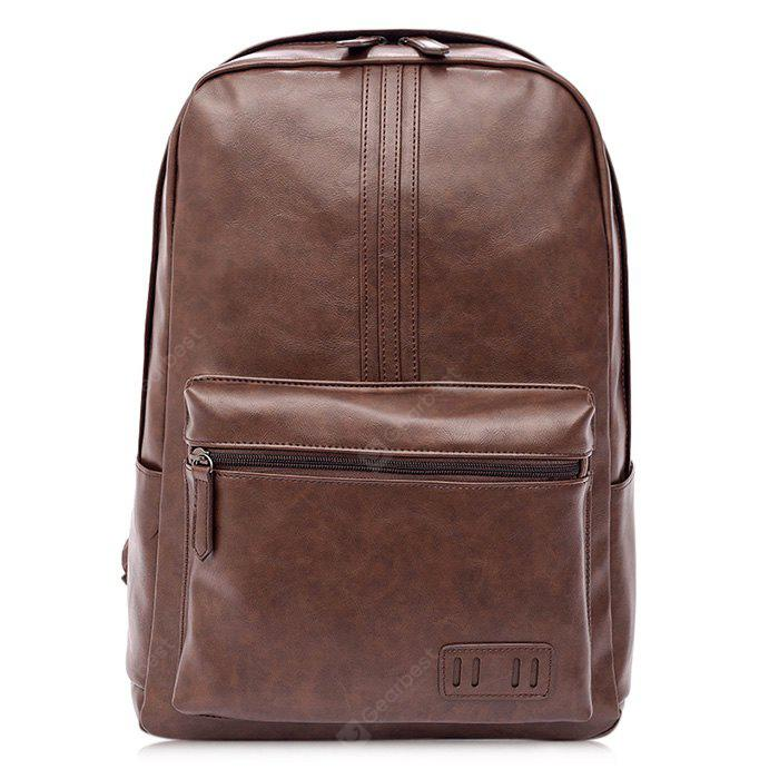 Men Leisure Solid Color PU Leather Backpack