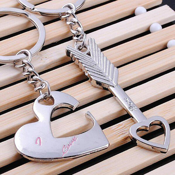 SILVER 2PCS Heart Arrow Pattern Lovers Key Chain