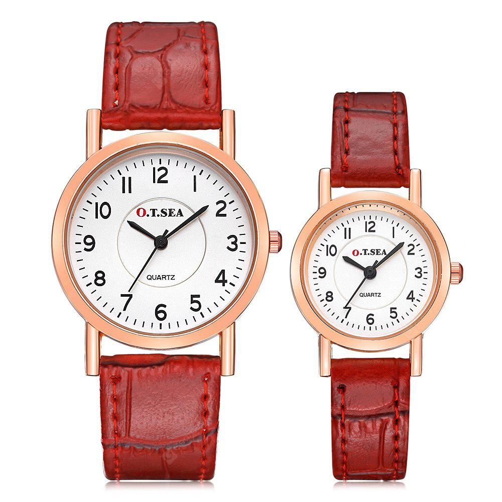 O.T.SEA 844 Stylish Leather Band Couple Quartz Watch