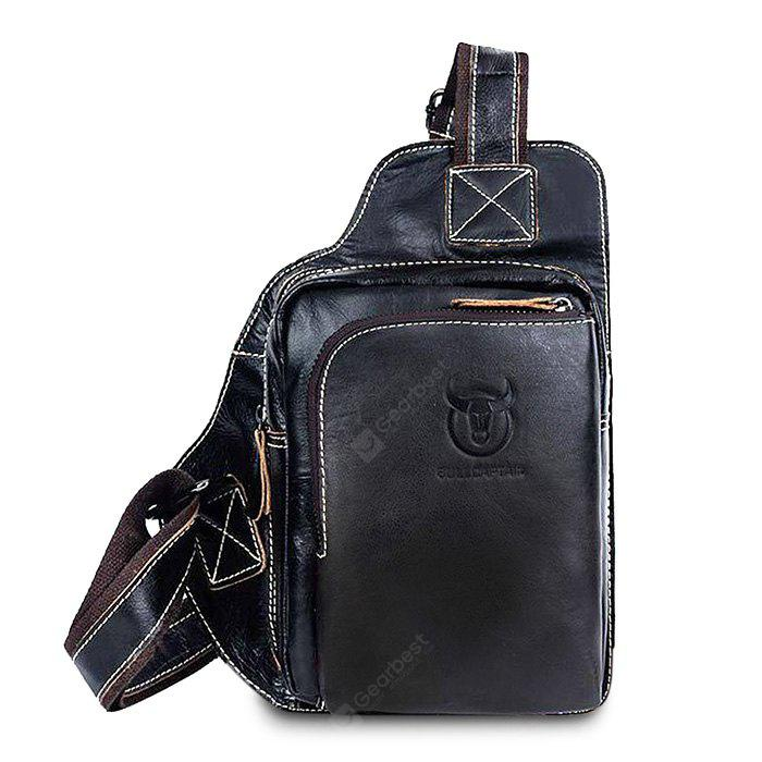 BLACK Men Retro Genuine Leather Shoulder Bag