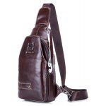 BULLCAPTAIN Men Casual Genuine Leather Chest Bag - BROWN