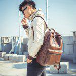Men Leisure Solid Color PU Leather Backpack - BROWN