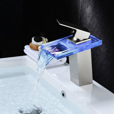 LINGHAO Modern Waterfall Bathroom Sink Faucet with LED