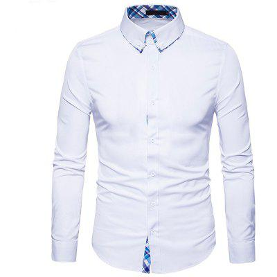 Buy WHITE Plaid Spliced Slimming Long Sleeve Men Shirt for $17.41 in GearBest store