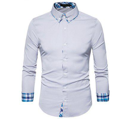 Buy LIGHT GRAY Plaid Spliced Slimming Long Sleeve Men Shirt for $17.41 in GearBest store