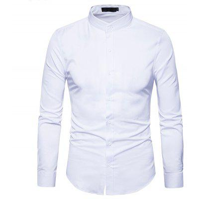 Buy WHITE Slimming Long Sleeve Stand Collar Men Shirt for $17.41 in GearBest store