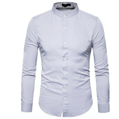 Buy LIGHT GRAY Slimming Long Sleeve Stand Collar Men Shirt for $17.41 in GearBest store