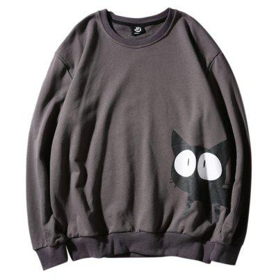 Buy GRAY Round Neck Sweater with Cute Cat Motif for Men for $21.53 in GearBest store