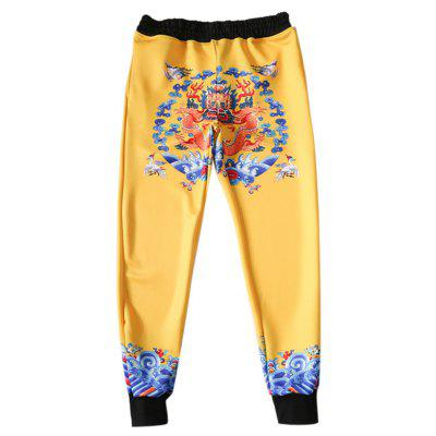 Buy BLACK Unique Chinese Dragon Printing Pants for $21.53 in GearBest store