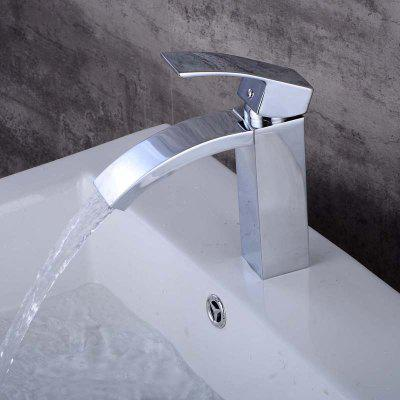 Buy SILVER LINGHAO Waterfall Single Handle Bathroom Sink Faucet for $65.09 in GearBest store