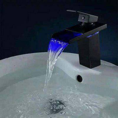 Buy BLACK LINGHAO Contemporary LED Waterfall Bathroom Sink Faucet for $109.28 in GearBest store