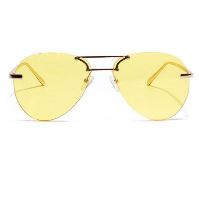 Buy YELLOW Unisex Double Beam No Frame Classic Sunglasses for $7.42 in GearBest store