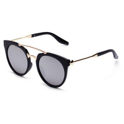 Buy REFLECTIVE WHITE COLOR Unisex Double Beam Round Lens Classic Sunglasses for $7.51 in GearBest store
