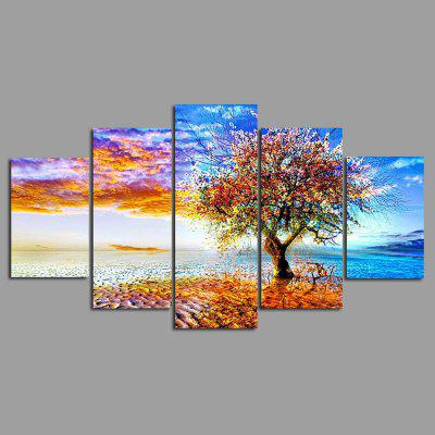Buy COLORMIX 5PCS YSDAFEN Beautiful Tree Printed Painting Canvas Print for $55.37 in GearBest store
