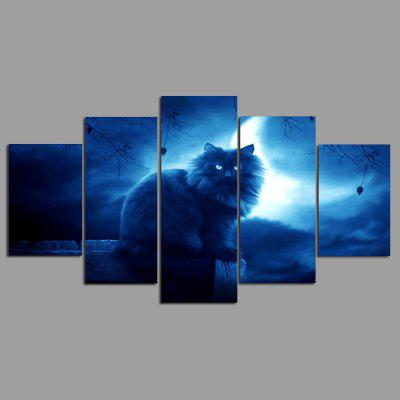 Buy COLORMIX 5PCS YSDAFEN Night Cat Printed Painting Canvas Print for $55.37 in GearBest store