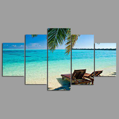Buy COLORMIX 5PCS YSDAFEN Beautiful Beach Printed Painting Canvas Print for $55.37 in GearBest store