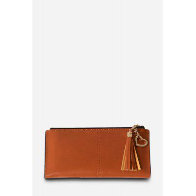 Stylish Solid Color PU Bifold Long Wallet for Women