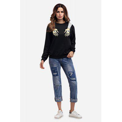 Hands with Eyes Print Round Neck Hoody for Women