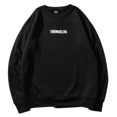 Male Chic Letter Pattern Manga comprida Round Collar Hoodie