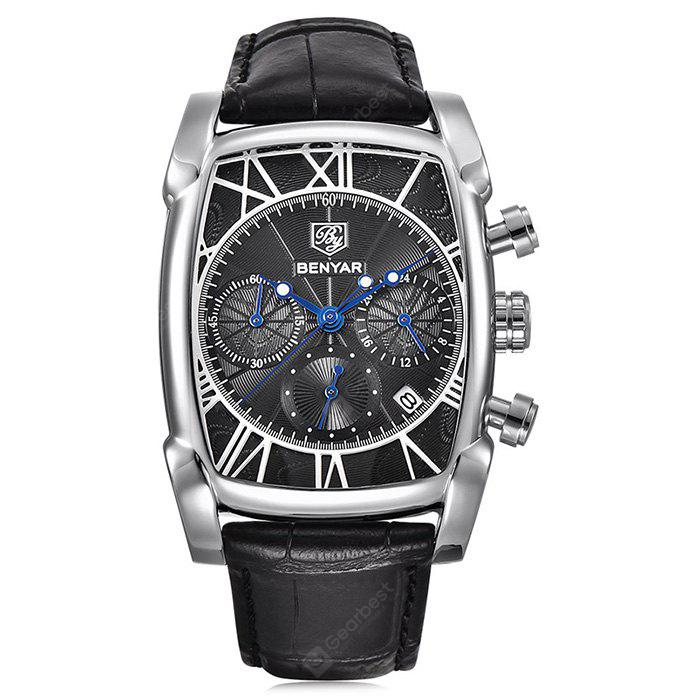 BENYAR 5113M Creative Leather Band Men Quartz Watch