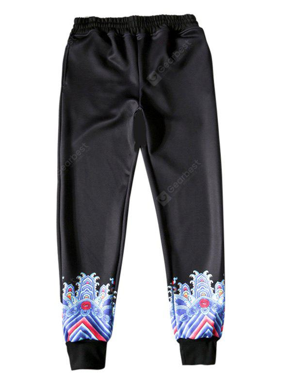 BLACK Fashion Unique Printing Pants