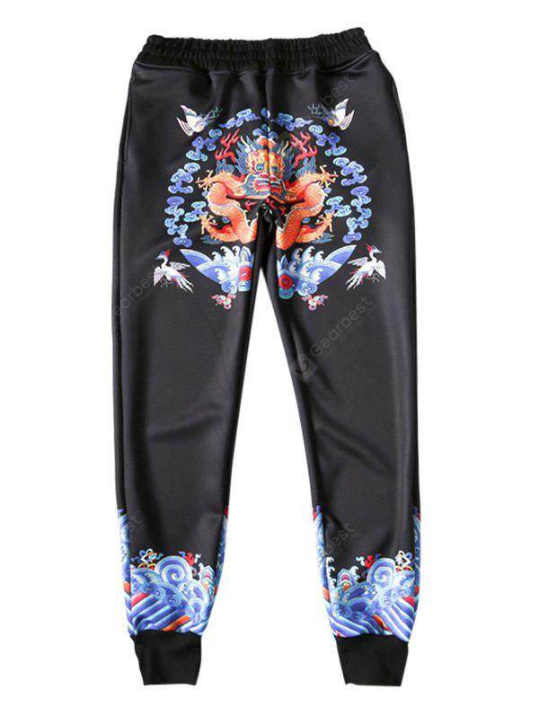 YELLOW Unique Chinese Dragon Printing Pants