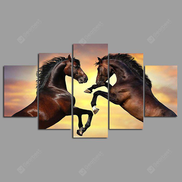 COLORMIX 5PCS YSDAFEN Beautiful Horses Painting Canvas Print