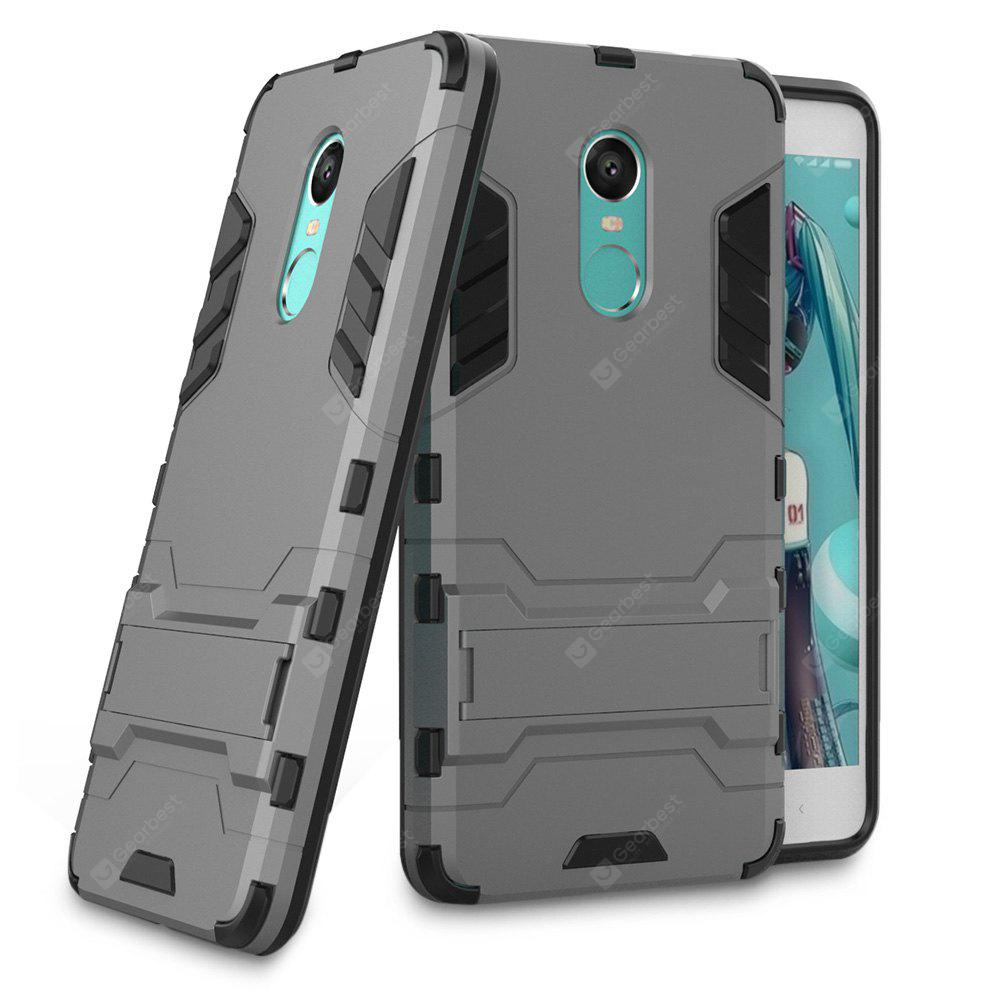 BLACK AND GREY Luanke Drop-proof Phone Stand Back Case for Xiaomi Redmi Note 4X