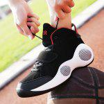 Male Soft Thick Soled Ankle Top Basketball Sneakers - BLACK RED
