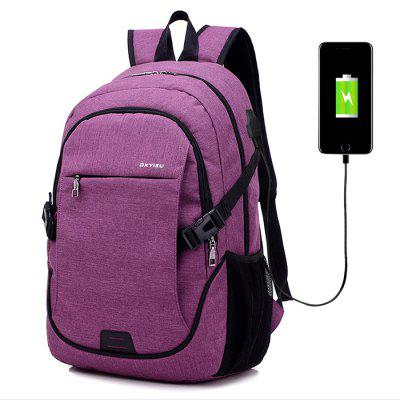 Buy PURPLE Men Durable Solid Color Canvas Backpack with USB Port for $27.93 in GearBest store