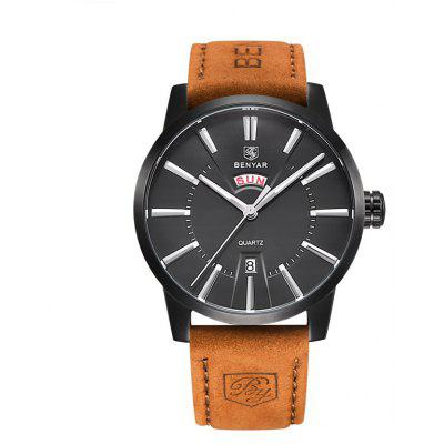 BENYAR 5101M Simple Leather Band Men Quartz Watch