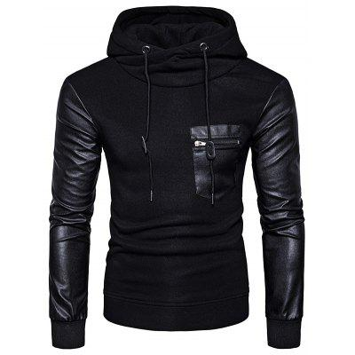 Buy BLACK Fashion Unique Stitching Hoodie Hooded Sweatshirt for $27.68 in GearBest store
