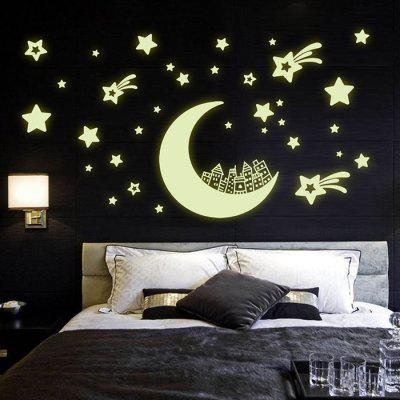 LAIMA QT0286 Fluorescence Glow Moon Star Wall Sticker