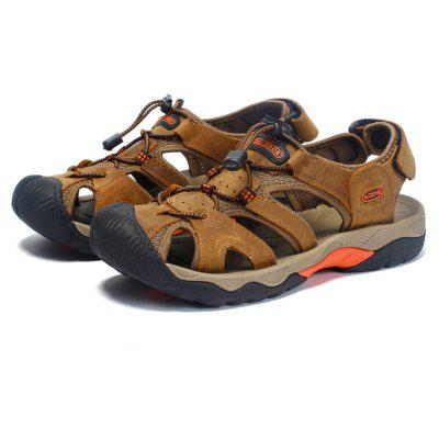 N - DENG Outdoor Genuine Leather Sandals for Men