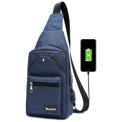 Buy BLUE Leisure Durable Canvas Male Shoulder Bag with USB Port for $19.89 in GearBest store