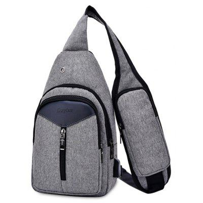 Casual Canvas Male Shoulder Bag with USB Port