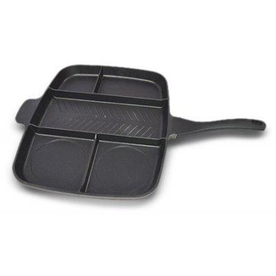 Multi-functional Multi-sectional Non-Stick 5-in-1 Grill / Fry / Oven Meal Skillet Pan