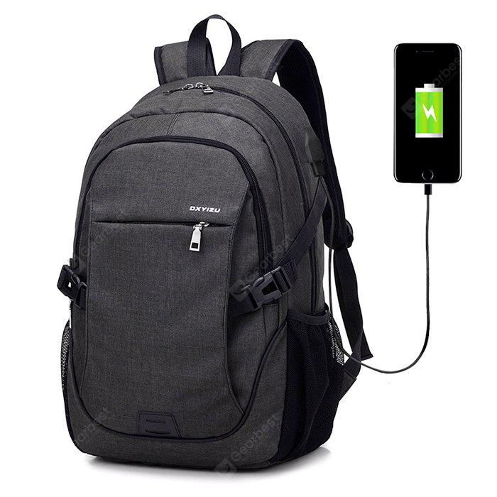 Men Durable Solid Color Canvas Backpack with USB Port