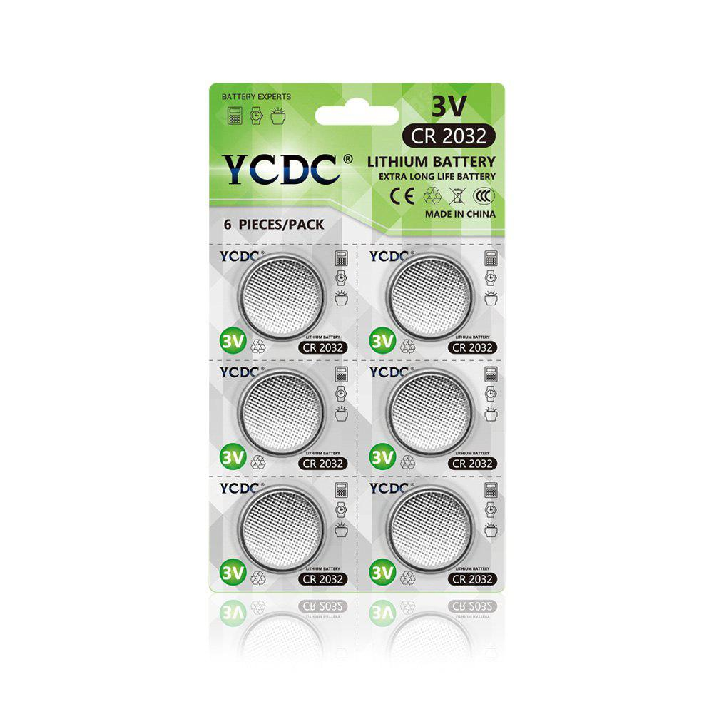 SILVER YCDC 6PCS 3V CR2032 Lithium Button Cell Battery