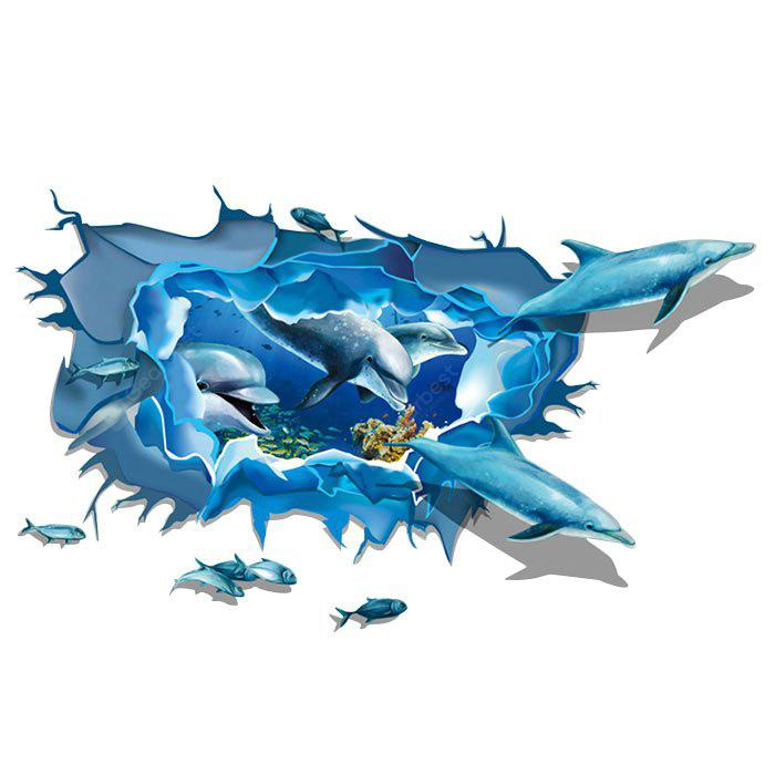 LAIMA 3D Dolphins Shape Wall Sticker Decoration