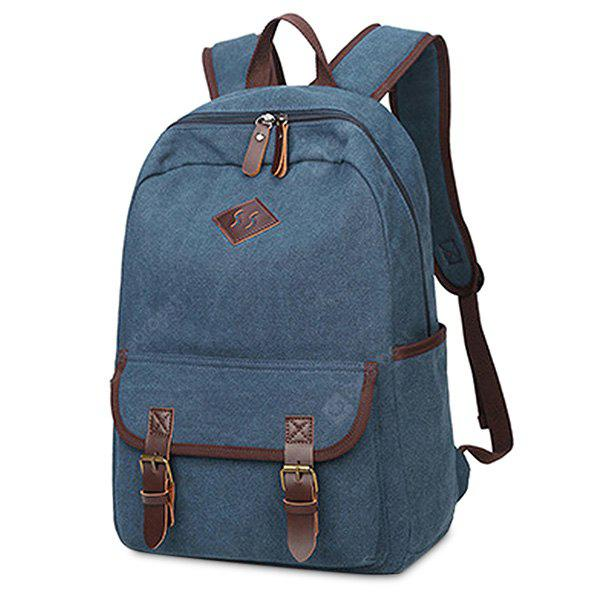 Men Leisure Leather-trimmed Canvas Backpack