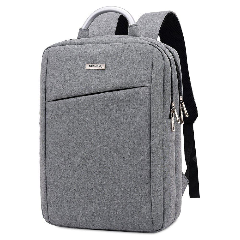 Men Simple Solid Color Canvas Laptop Backpack