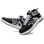 High Top Casual Skateboarding Shoes for Men - BLACK WHITE