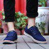 Male Simple Sports Casual Leather Skateboarding Shoes - DEEP BLUE