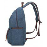 Men Leisure Leather-trimmed Canvas Backpack - ROYAL
